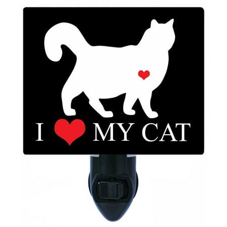 Night Light - Photo Light - I Heart Cat 3 - Love - Cats