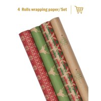 "LaRibbons Christmas Gift Wrapping Paper - Kraft Christmas Elements Collection 4 Rolls - 30"" x 120''/Roll"