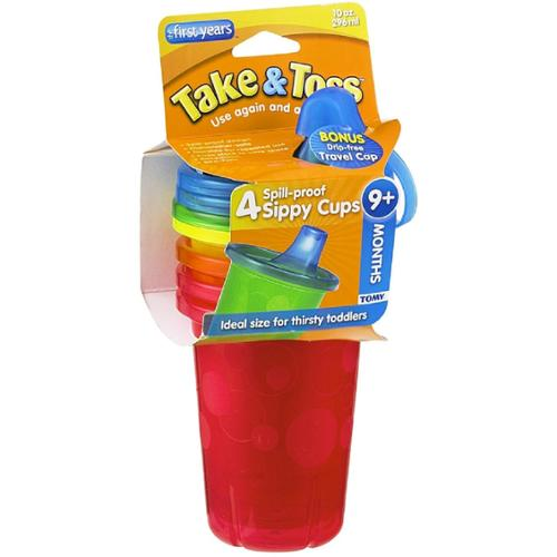 The First Years Take & Toss Spill-Proof Cups 10-Ounce, Assorted Colors 4 ea (Pack of 3)