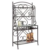 Chintaly 3-Shelf Metal Bakers Rack with Glass Shelving