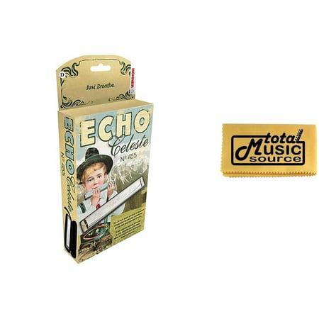 Hohner 455 Echo Celeste Tremolo Tuned Harmonica Key of D, Includes Case & TMS Polishing Cloth, 455BX-D - Harmonica Tune Book