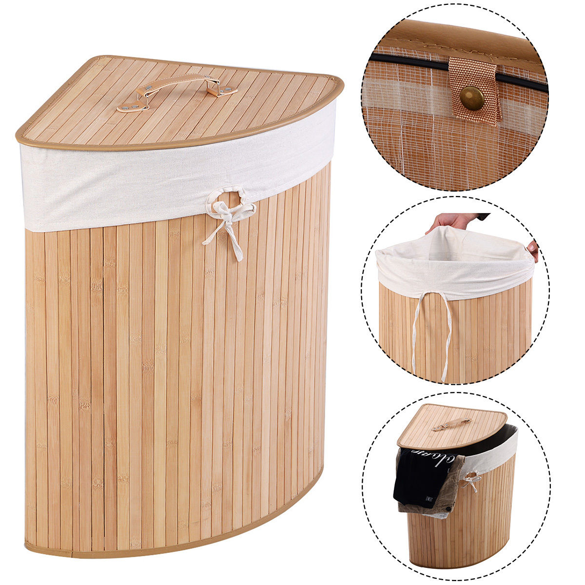 Costway Corner Bamboo Hamper Laundry Basket Washing Cloth Bin Storage Bag Lid Natural