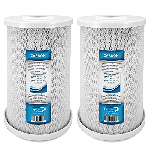 """Express Water Whole House Big Blue Carbon Block CTO Filter 5 Micron Coconut Shell Carbon 4.5"""" x 10"""" - 2 Pack"""