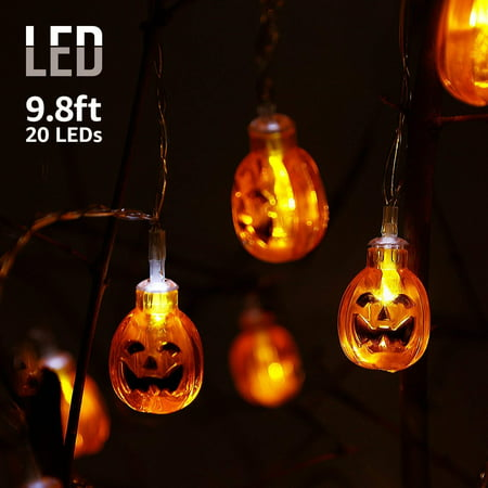 TORCHSTAR 9.8ft 20 LEDs Outdoor Halloween Decorative String Lights with Round Pumpkins Pendants, Holiday Christmas String Lights (Halloween Light Show Timer)