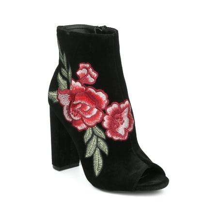 - New Women Wild Diva Morris-03C Peep Toe Rose Embroidered Chunky Heel Bootie