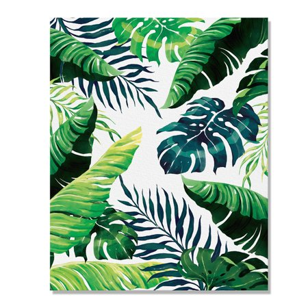 Wayfare Art Canvas Prints Poster, 8 x 10 inch Wall Decor Canvas Artwork, Banana Coconut Tropical Leaves