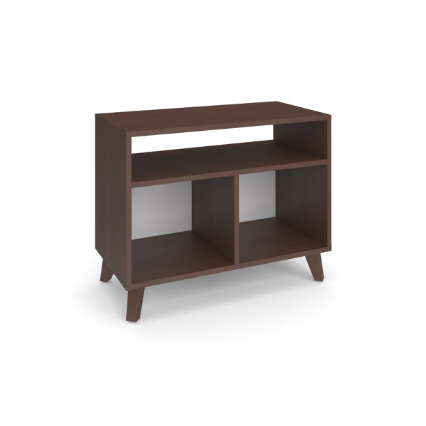HON BASYX Commercial-Grade Modern Cube Storage Credenza, Real Wood Feet, in Walnut (BSXCUBECMWMW)