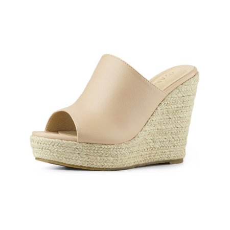 Women's Espadrille Wedge Heel Platform Open Toe Mules Nude/US 6 (Crocs Open Toe Wedge)