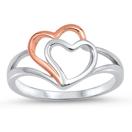 e238fcbb49 Sac Silver - Rose Gold-Tone Heart Promise Ring New .925 Sterling Silver  Love Band Size 9 - Walmart.com