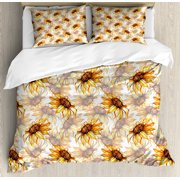 Yellow Flower Queen Size Duvet Cover Set, Watercolor Style Sunflowers Pattern with Faded Blossoms Botany Bouquet, Decorative 3 Piece Bedding Set with 2 Pillow Shams, Yellow Marigold, by Ambesonne