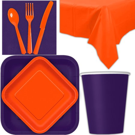 Disposable Party Supplies for 28 Guests - Deep Purple and Pumpkin Orange - Square Dinner Plates, Square Dessert Plates, Cups, Lunch Napkins, Cutlery, and Tablecloths:  Tableware Set - Purple Pumpkin