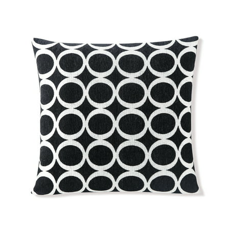 Decorative Pillow With Zipper : Black Decorative Removable Sofa Throw Pillow Cover: 20 x 20