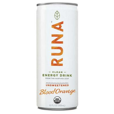 Runa Clean Energy Blood Orange 12 Oz Cans Pack Of 12