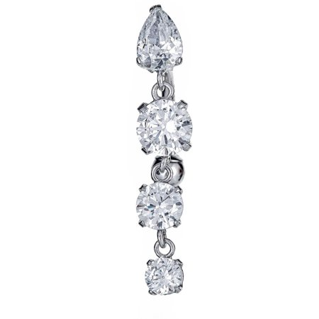 Butterfly Cubic Zirconia Belly Ring - CZ 10kt White Gold Dangling Belly Button Ring
