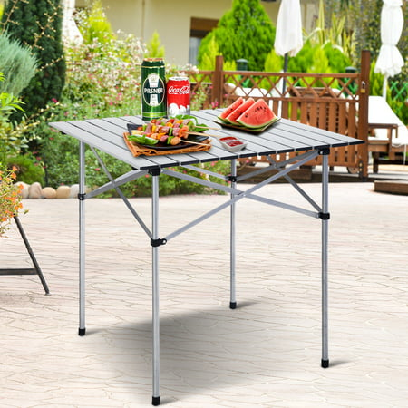 Costway Roll Up Portable Folding Camping Square Aluminum Picnic Table w/Bag (27-3/5