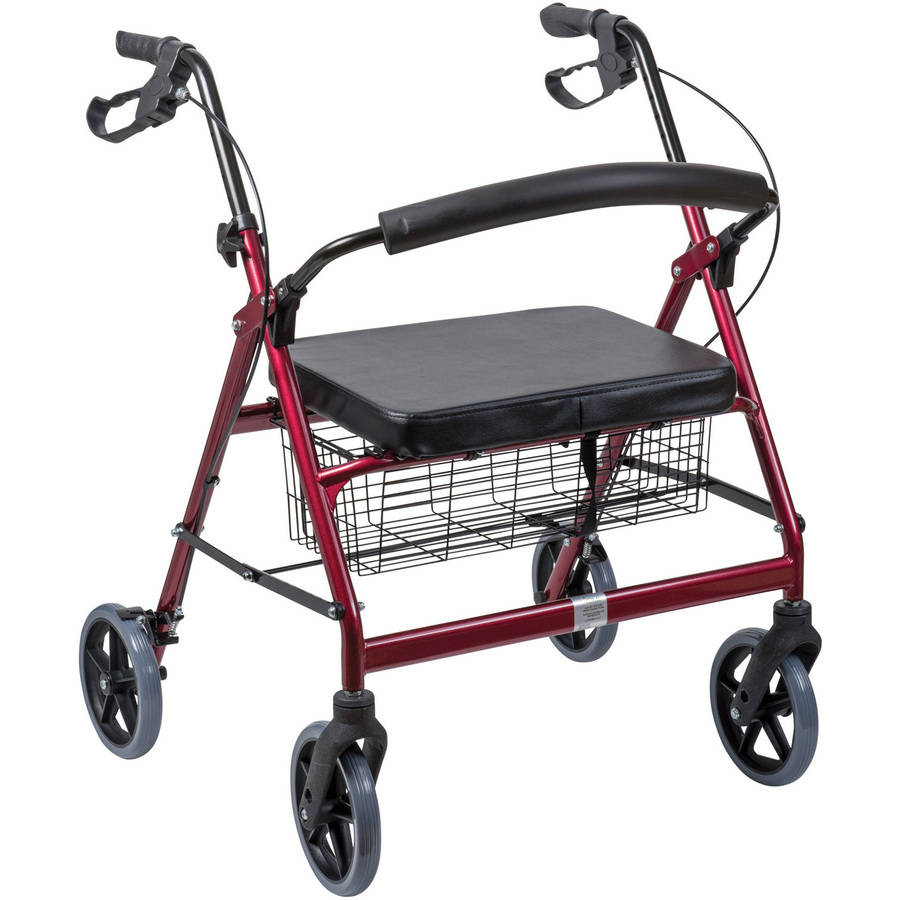 DMI Extra-Wide Heavy Duty Steel Bariatric Rollator Walker with Seat and Basket, Burgundy, Folding