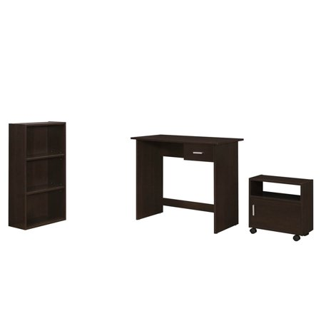 Bookcase Secretary Desk - MONARCH - COMPUTER DESK - 3PCS / CAPPUCCINO DESK / BOOKCASE / CART