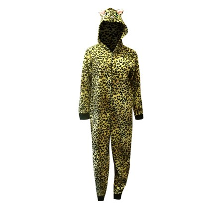 Jungle Leopard Print Hooded Onesie Footed Pajama (Leopard Women Onesie)