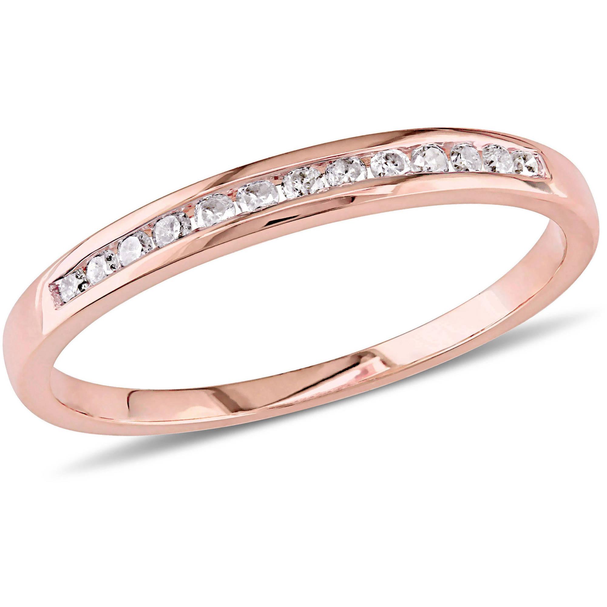 Miabella 1 8 Carat T.W. Diamond 10kt Pink Gold Semi-Eternity Anniversary Ring by Delmar Manufacturing LLC