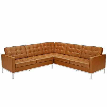 modway loft l shaped sectional sofa multiple colors