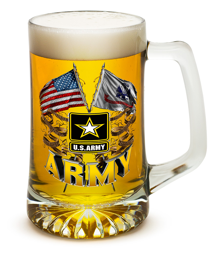 Beer Mugs with Handles � Double Flag US Army 25 oz Tankard Beer Mug � Armed Forces Gifts... by