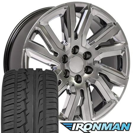 22 Inch Black And Chrome Rims - OE Wheels 22 Inch Fits Chevy Silverado High Country CV37 22x9 Hyper Black Chrome Rim with Ironman Tires SET