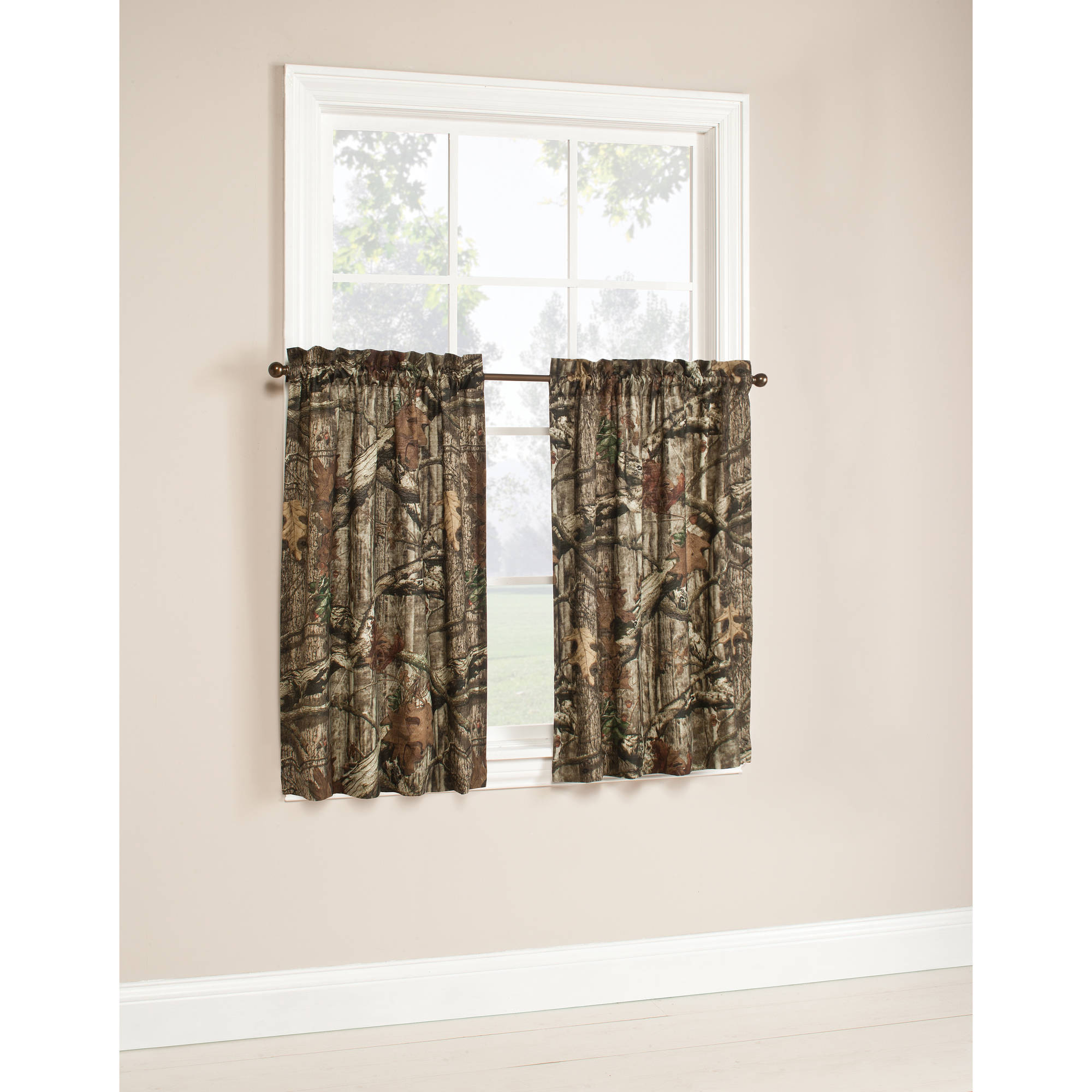 Mossy Oak Camouflage Curtain Tier Pair 75 Polyester 25 Cotton