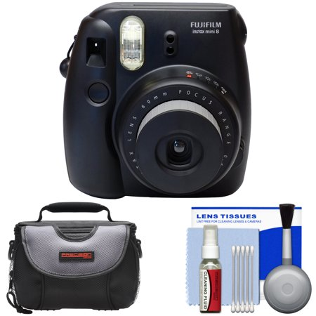 Fujifilm Instax Mini 8 Instant Film Camera (Black) with Case + Cleaning Kit
