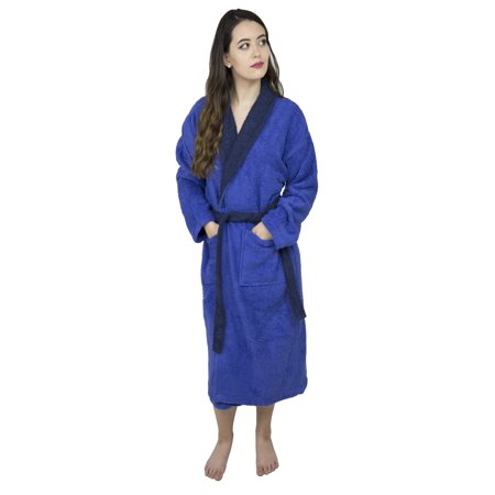 Women's 100% Terry Cotton Bathrobe Toweling Gown Robe Two Tone