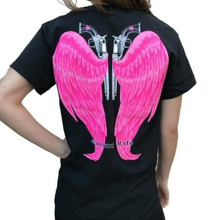 Country Life Guns and Angel Wings Black and Pink Short Sleeve Shirt (Medium)