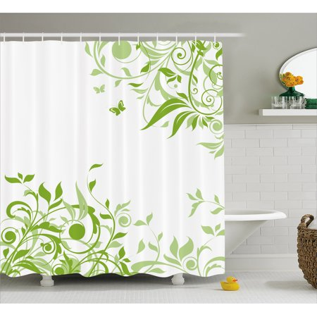 Green Shower Curtain Spring Time Theme With Victorian Artistic Design Branches Butterfly Fabric Bathroom