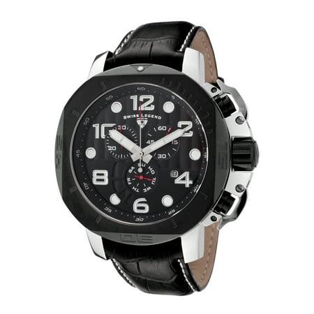 Swiss Legend 10537-01-Bb Scubador Chrono Black Genuine Leather, Dial And Bezel Watch