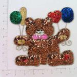 """Expo 7 3/4"""" x 7 1/2"""" Teddy Bear with Balloons Sequin Applique"""