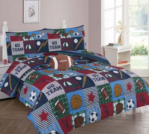 8-PC FULL RUGBY Complete Bed In A Bag Comforter Bedding Set With Furry Friend and Matching Sheet Set for Kids