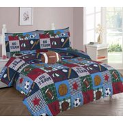 FULL RUGBY BOYS BEDDING SET, Beautiful Microfiber Comforter With Furry Friend and Sheet Set (8 Piece Kids Bed In A Bag)