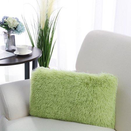 """PiccoCasa Faux Fur Fluffy Decorative Throw Pillow Cover Sofa Cushion Cover, 12""""x20"""""""
