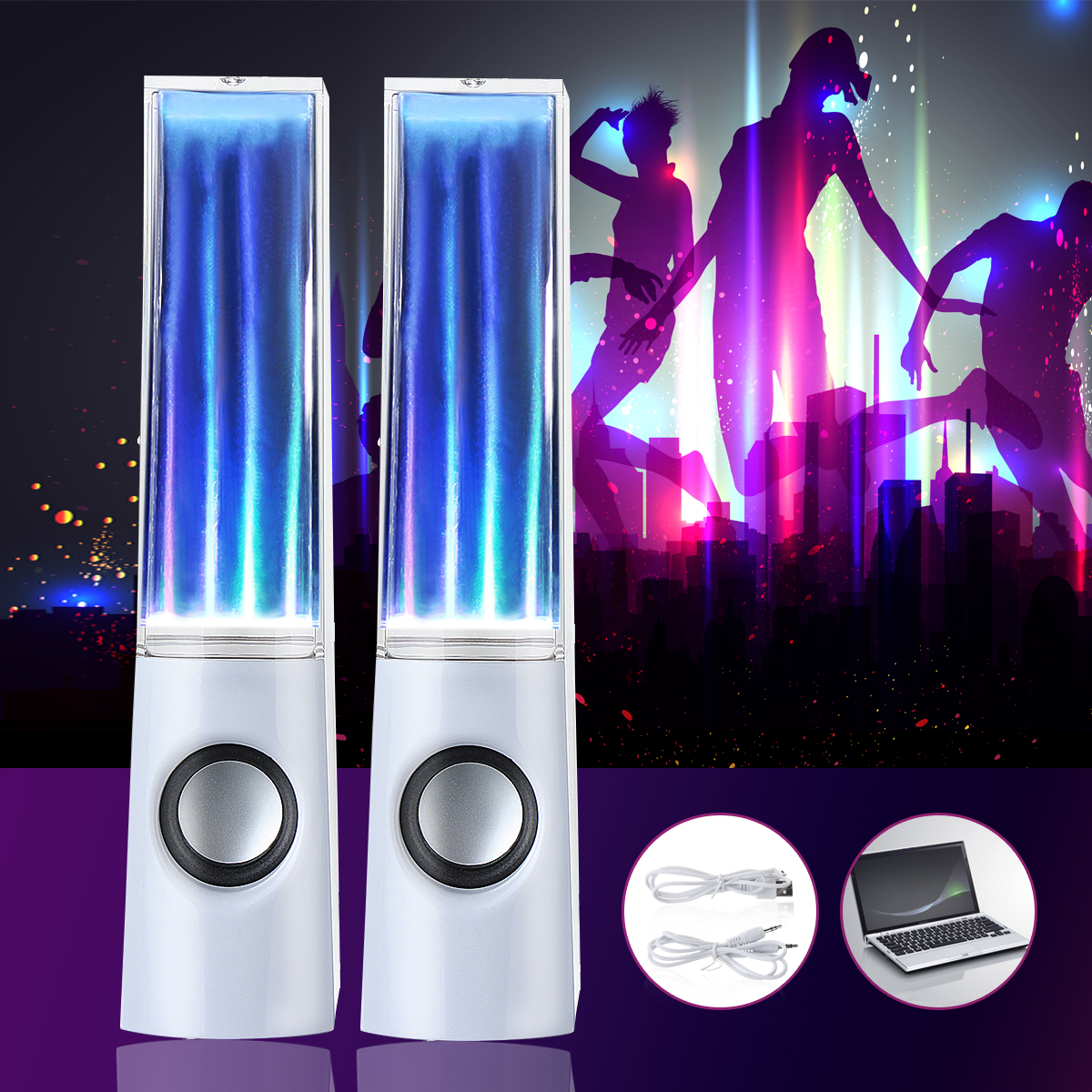 1Pair Stereo Music Dancing Water Speaker Show Music LED Light Fountain With USB or Phones Computer by