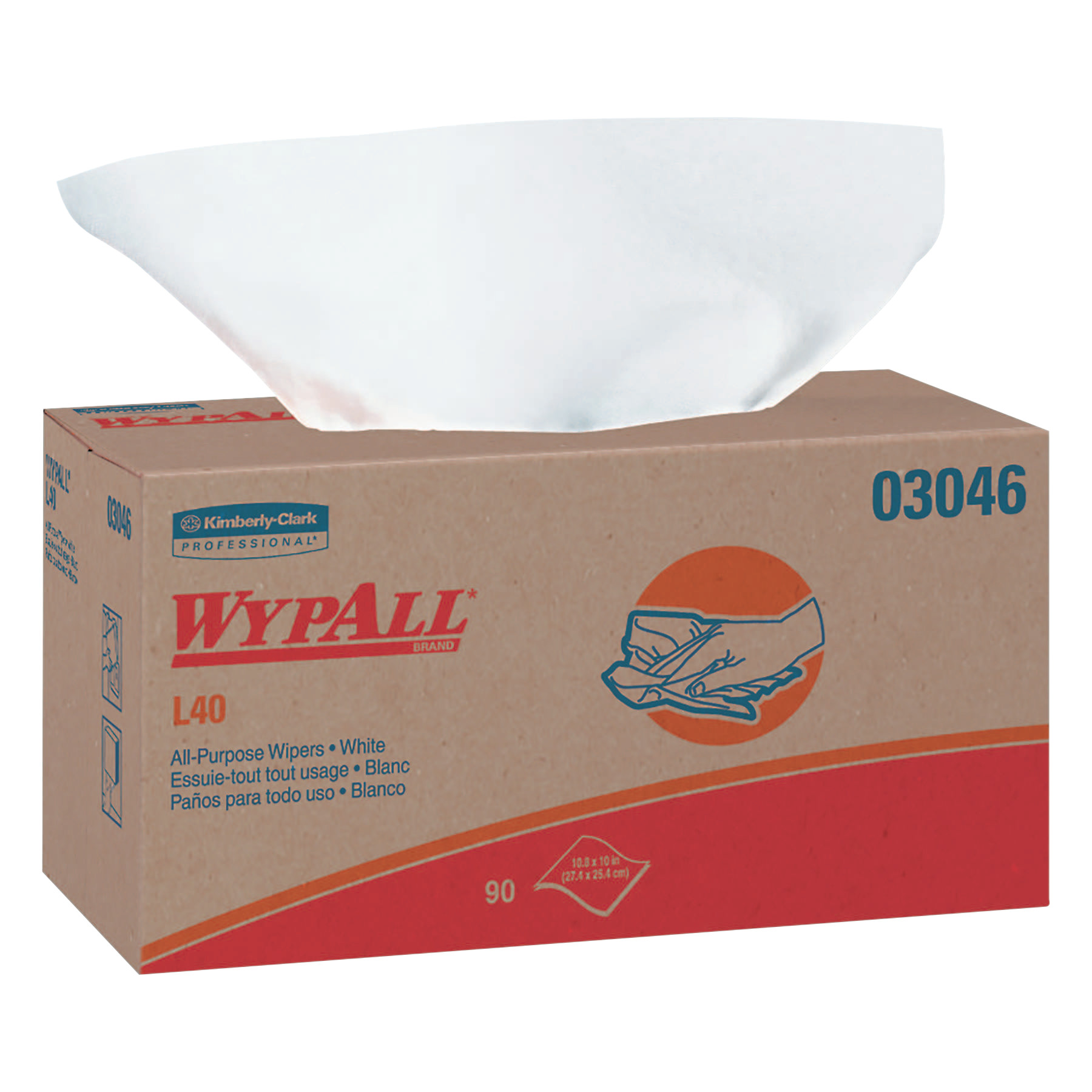 Kimberly-Clark Professional WypAll L40 Wipers, Pop-Up Box, White