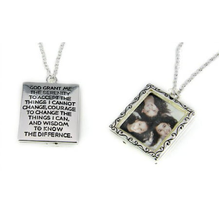 Serenity Prayer Picture Frame Locket Style Necklace Family Loved One ...