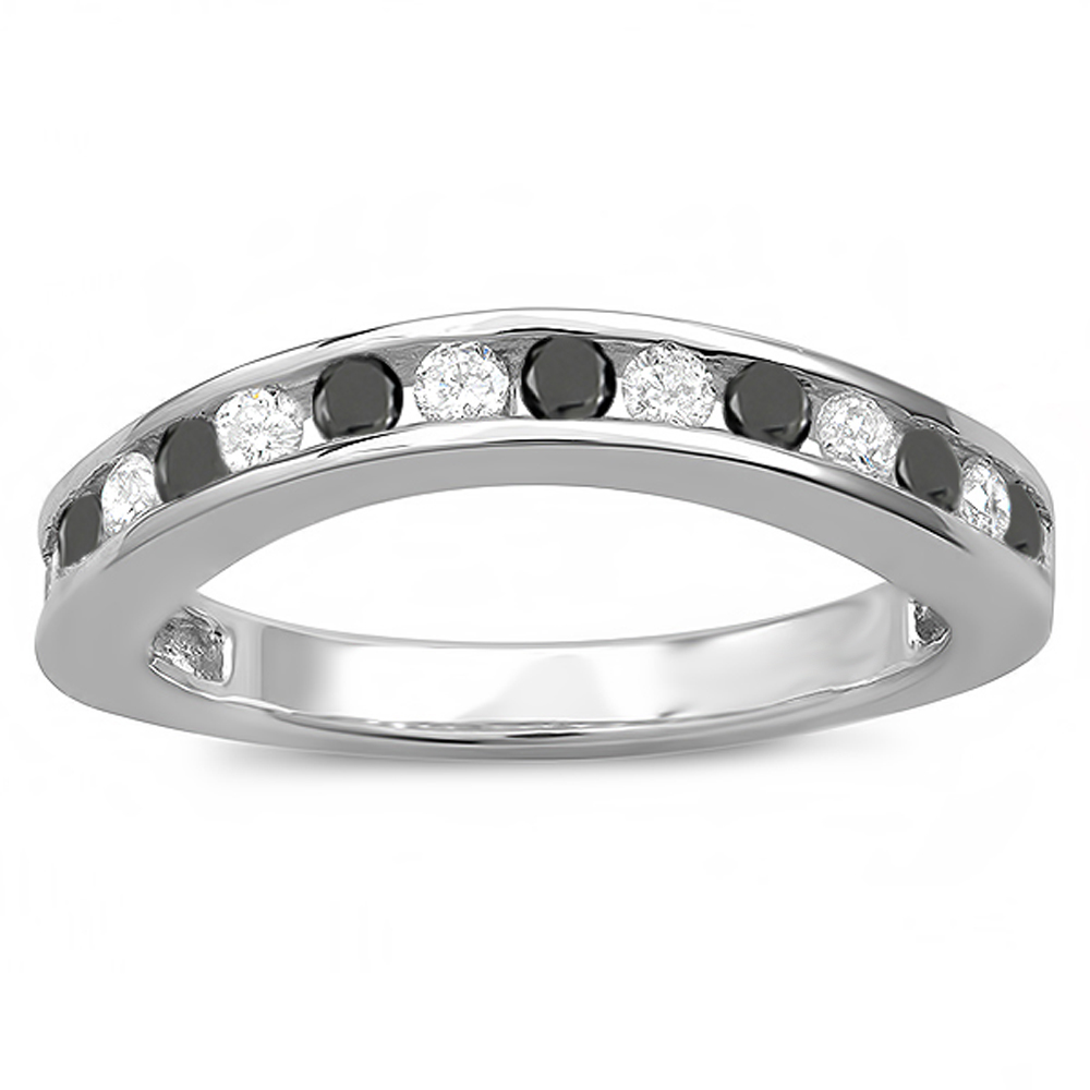 0.75 Carat (ctw) 14k White Gold Round White And Black Diamond Ladies Curved Guard Wedding Band 3/4 CT
