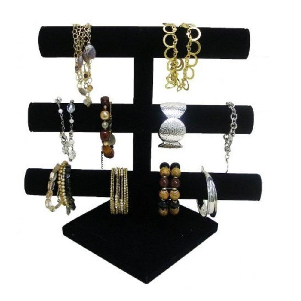 Black Velvet Level T-Bar Bracelet Necklace Jewelry Display Stand