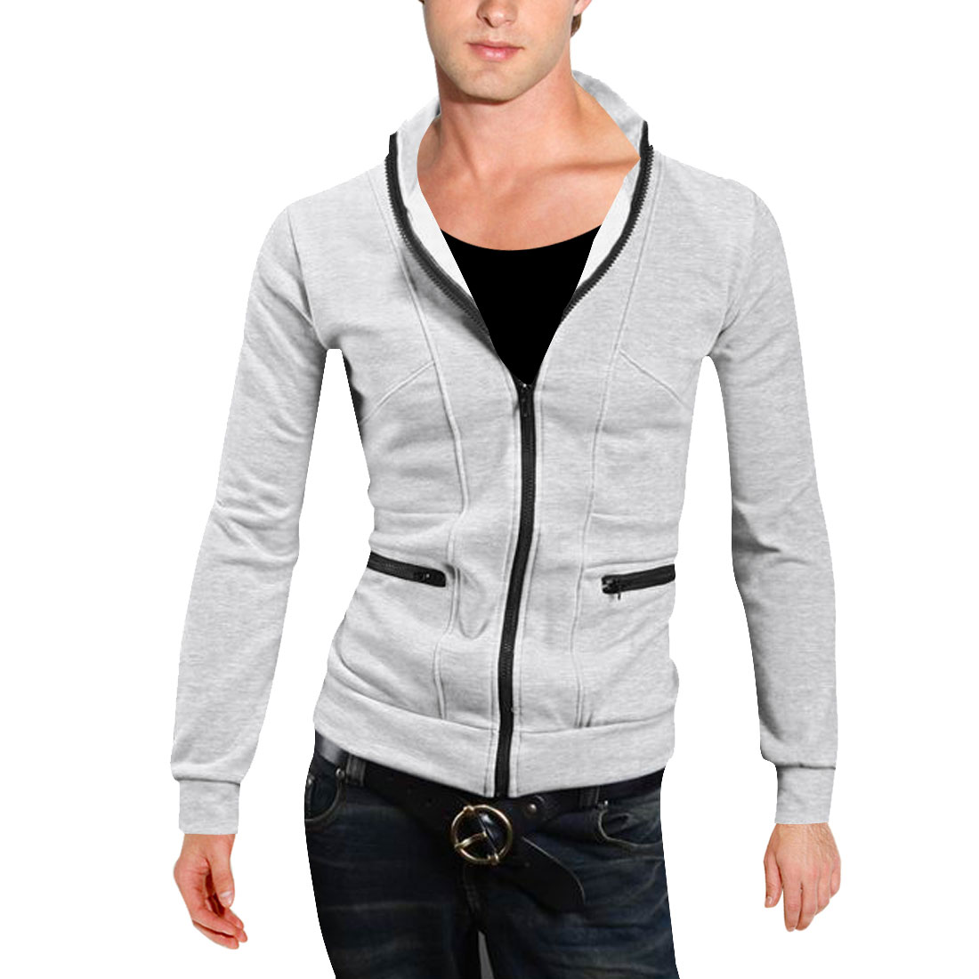 Azzuro Men's Zipper Pockets Chic Stylish Long Sleeve Thic...