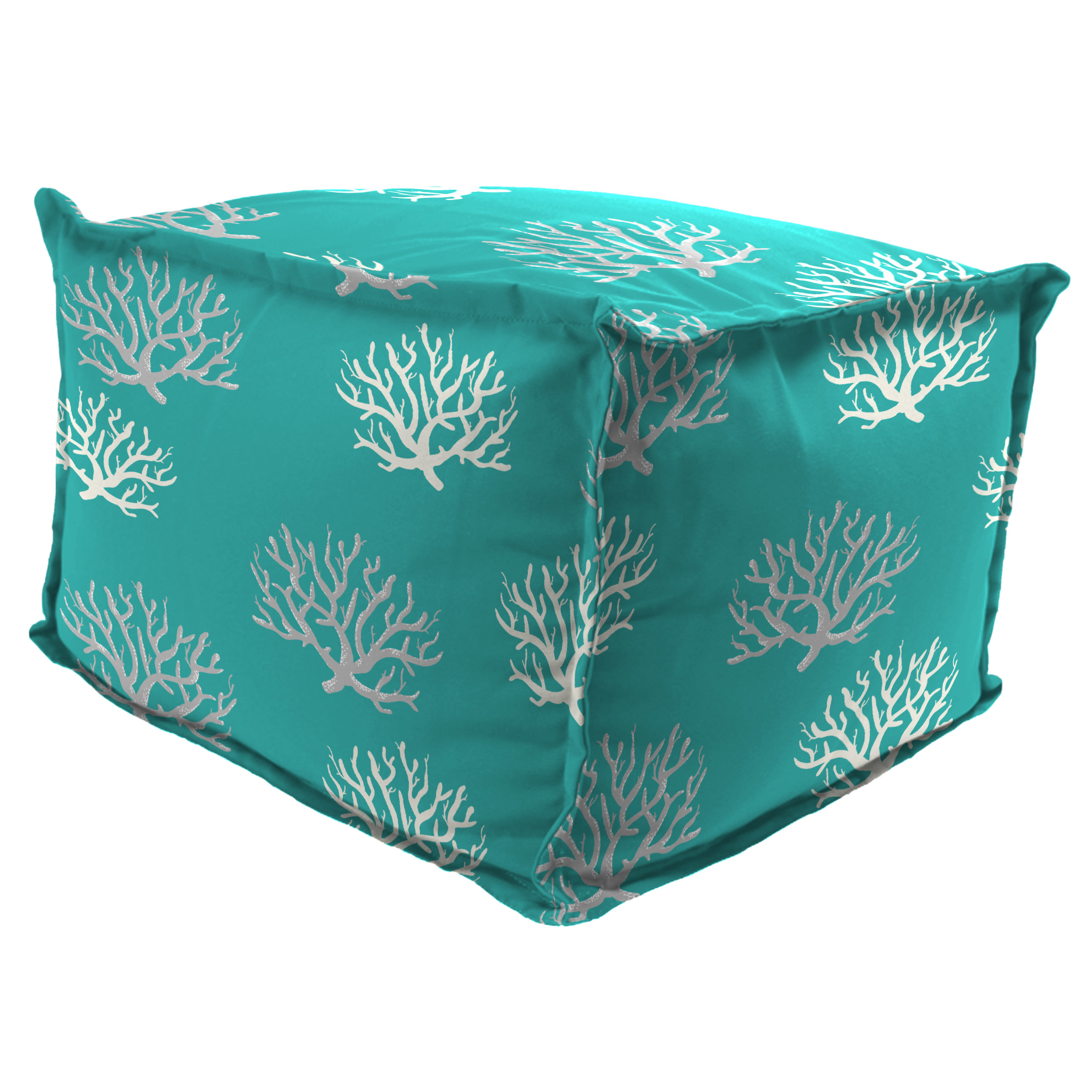 """Jordan Manufacturing Outdoor 20"""" x 20"""" Flanged Pouf/Ottoman, Bead Filled, Isadella Ocean"""