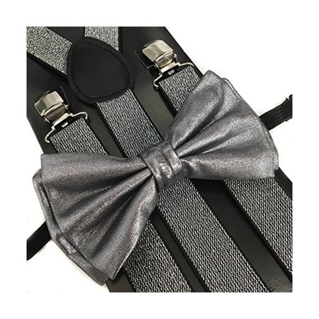 Gray Metallic Silver Glitter Suspenders and Bow tie Set Wedding Suit Prom Party grey](Silver Bow Tie)