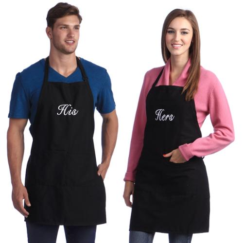 Monogrammed Black His & Hers Apron Set