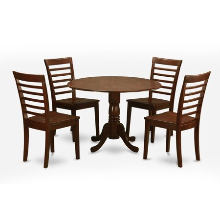 East West Furniture Dublin 5 Piece Drop Leaf Dining Table Set with Milan Wooden Seat Chairs