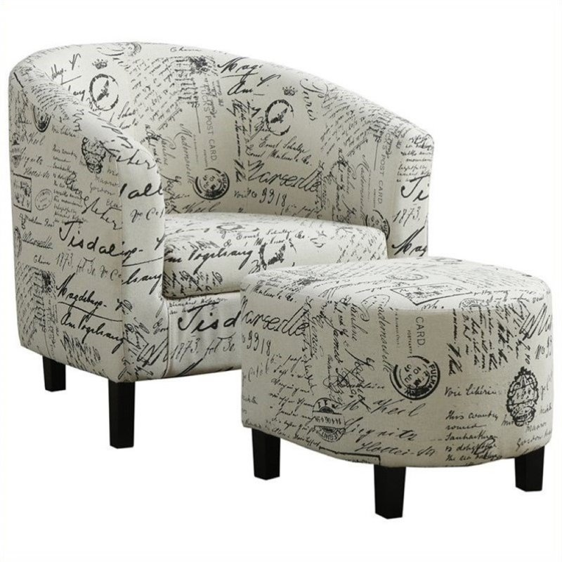 Atlin Designs Accent Barrel Club Arm Chair and Ottoman in White