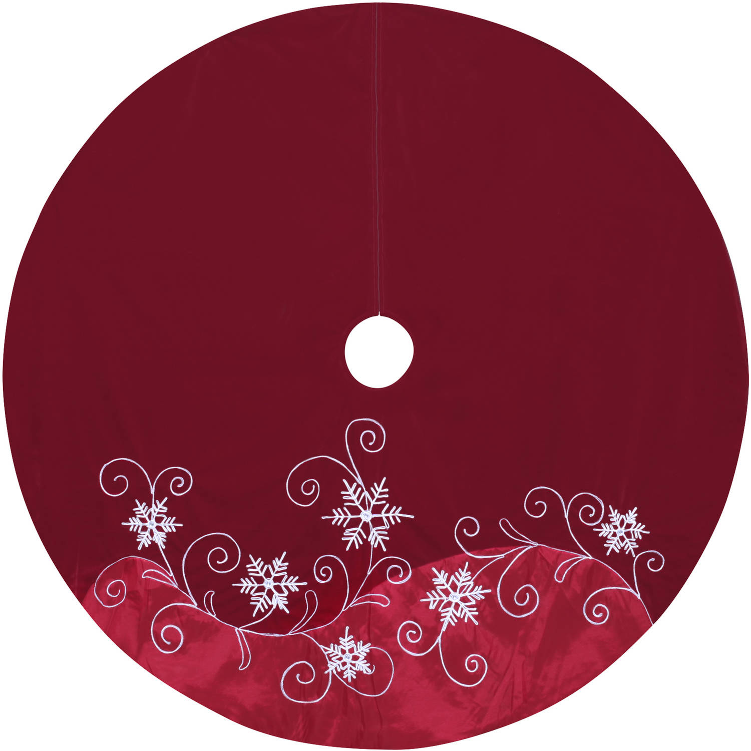 "Holiday Time 56"" Red Velvet and Satin Tree Skirt with Snow and Swirls"