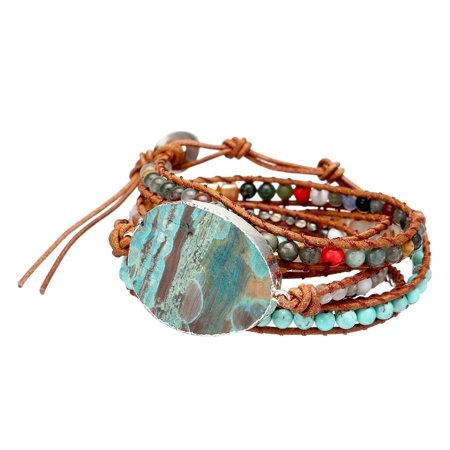 LuckyFine Women Ocean Jasper Stone Bracelet Multi Strand Wrap Around Bracelets Charm Heart Bohemian Bangle Jewelry for Mother, Ladies, Lover Gift (Strand Mothers Birthstone Bracelet)