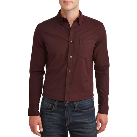 14a4724f GEORGE - George Men's long sleeve slim fit oxford shirt - Walmart.com